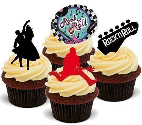 Rock N Roll Mix 50er Jahre - 12x Esspapier Cupcake Deko (Party Deko 50er Jahre)