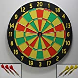 Dart Spiel TENTABLE Dartscheibe Dartboard Holz 2 Seiten bespielbar, 6 Wurfpfeile Darts mit Metall Spitze