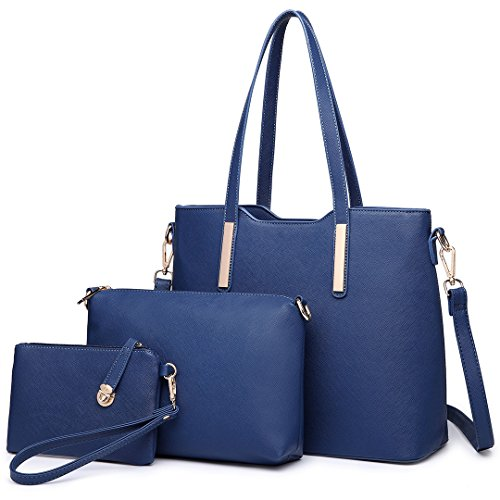 Miss Lulu Women Fashion Handbag Shoulder Bag Purse Faux Leather Tote 3 Piece (6648 Navy)