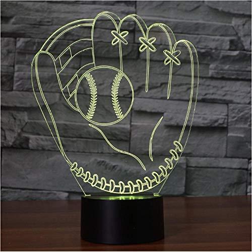 Pbbzl 3D Baseballhandschuh Catcher Krug Handschuhe Tischlampe Linke Hand Softball Handschuhe Bunte Led Nachtlicht Schlafzimmer Dekor Kinder Geschenke