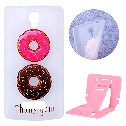 Lenovo A2010 Luminous Case, Transparent Lenovo A2010 Cover Cases, Ekakashop Ultra Slim-fit Noctilucent With Donuts Pattern Soft Protective Case TPU Silicone Gel Crystal Clear Soft Rubber Protective Case Back Cover Bumper for Lenovo A2010 + 1x Free Ekakashop Kickstand (Color Random)