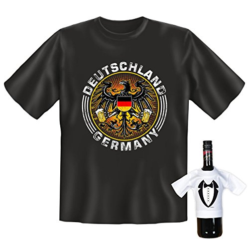 T-Shirt Set! Deutscher Bundesadler mit Zwei Maß Bier - Deutschland Germany - mit Einem gratis Gentleman Minishirt!