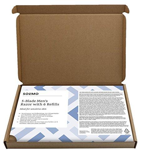 Amazon-Marke: Solimo Herrenrasierer mit 5-fach-Klinge + 6 Ersatzklingen