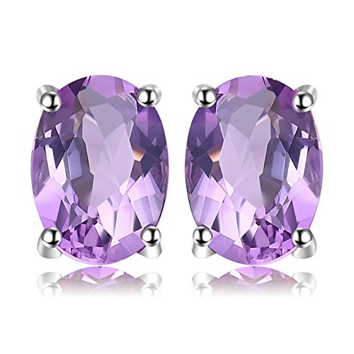 JewelryPalace Oval 1.4ct Natürliche Lila Amethyst Birthstone Ohrstecker Reine 925 Sterling Silber -