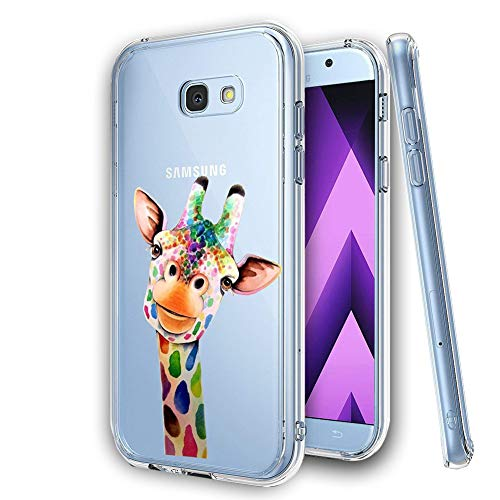 KeKeYM Samsung Galaxy S6 Handyhülle, Ultradünner Silikon Rückenprotektor, Weiche Haut Kristallklares Gel Stoßfester, Schlanker Transparenter Schutz - Bunte Giraffe
