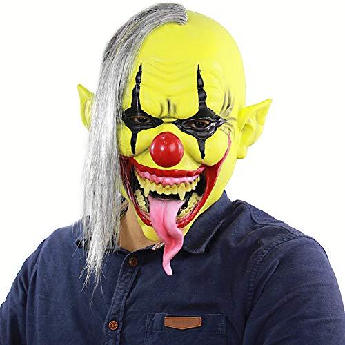 QXYA Scary Clown Maske Latex Maske Horror Gruselig Latex Clown Masken Maske Halloween Kostüm Für Erwachsene Unisex Einheitsgröße Perfekt Für Fasching Karneval Halloween
