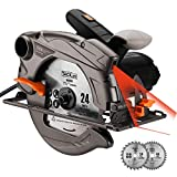 Kreissäge, Tacklife PES01A 1500W 4500RPM Handkreissäge mit Reinkupfer Motor, Bleche 185mm, Einstellbare Schnitttiefe (0-63mm), Abschrägungswinkel (0-45°), Leichter Aluminiumschutzgehäuse, 3m Kabel