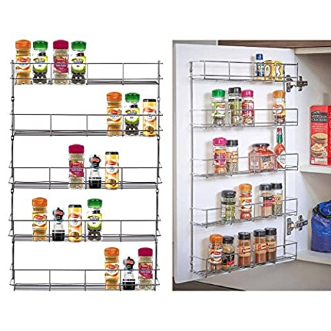 5 Tier Spice Gerb Jar Rack Holder for Kitchen Door Cupboard & Wall Storage Unit