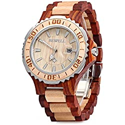 GBlife BEWELL ZS-100BG Mens Wooden Watch Analog Quartz Movement with Date Display Retro Style-Red Maple Wood