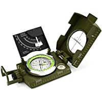 Landnics Compass, Waterproof Hiking Military Navigation Compass with Inclinometer Multifunction Military Metal Army Compass for Camping Hiking Walking Biking Army Green