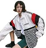 Emmala Primaverile Estivi Leggero Cerniera Donna Relaxed Stampate College Harajuku Giubbino Jacket Lunghe con Maniche Casuale Sportivo Outwear Coat (Color : Bianca, Size : L)
