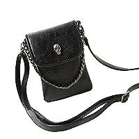 BXT Ladies Skull Leather Messenger Handbags Cellphone Mini Shoulder Bags - Black