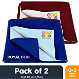 #3: Bey Bee Waterproof Bed Protector Dry Sheet Gifts Pack, Small, Royal Blue/Maroon (Pack of 2)