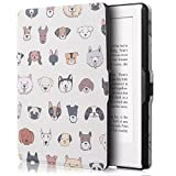 for Kindle Paperwhite 1 2 3 case. Premium SmartShell Lightest Thinnest Protective Protective PU Leather flip with (Auto Wake/Sleep) Flip Case Cover for Amazon Kindle Paperwhite 6' inch Display 2012 2013 2014 2015 & 2016 New 300 PPI Versions Flip Cover Case (Dogs)