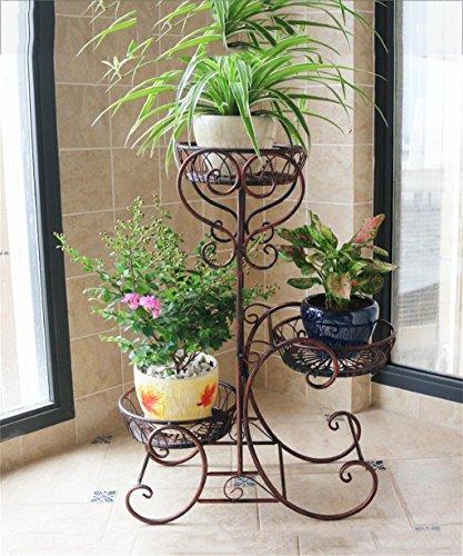 ZENGAI Style Européen Plateau à fleurs à plusieurs étages Plateau à fleurs en bois massif (Couleur : Brass)