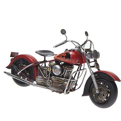Pamer-Toys Motorradmodell aus Blech - im Antik-Vintage-Retro-Style - Größe ca. 27 x 13 x 11 cm (Motorrad-rot II)
