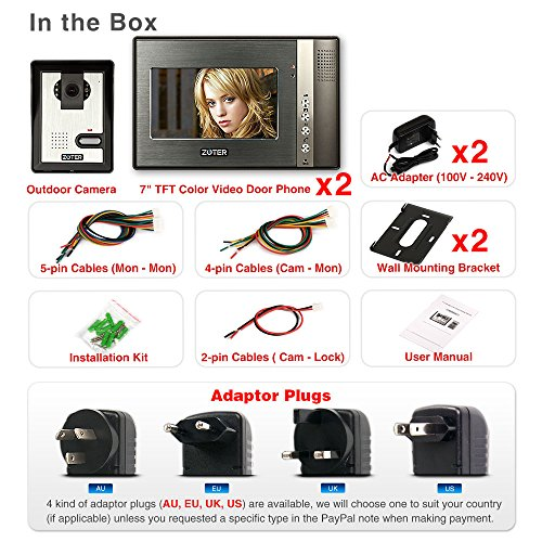 "Generic 7"" inch Color LCD Video Door Phone Doorbell Home Entry Intercom System 2 Monitor 1 Camera Night Vision 702"