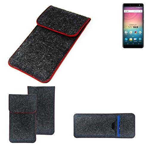 K-S-Trade® Filz Schutz Hülle Für -Allview V3 Viper- Schutzhülle Filztasche Pouch Tasche Case Sleeve Handyhülle Filzhülle Dunkelgrau Roter Rand