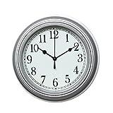 Foxtop Reloj de pared Silenciosa para Sala de estar Dormitorio Oficina de Cocina (plata)