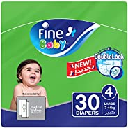 Fine Baby Diapers, DoubleLock Technology , Size 4, Large 7 - 14kg , Economy Pack. 30 diaper count