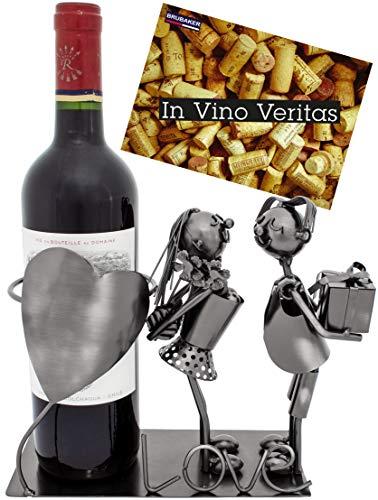 Brubaker Portabottiglie per Vino dal Design Coppia con Cuore - Scultura Compleanno in Metallo con Biglietto d'auguri