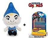 Sherlock Gnomes - Pack Peluche Gnomeo 28cm qualità Super Soft + Blister Penne di Gel