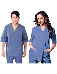 AIESI Divisa Ospedaliera Unisex Uomo Donna in Cotone 100% sanforizzato  Pantaloni + Casacca Scollo a V - Sanitaria. 18c32ff5014e