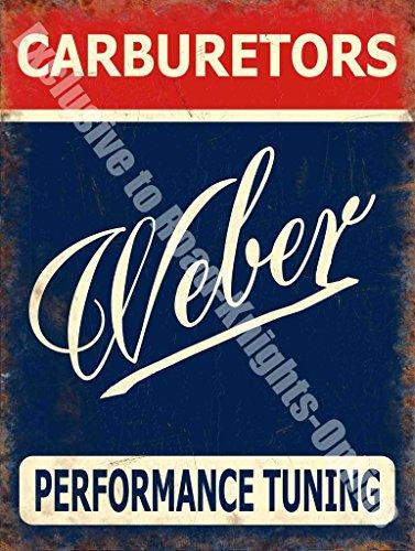 Vergaser-rallye (Weber Vergaser. leistung UK Zeichen schreiben, rot, blau und weiß Privatautos. Alt retro vintage. Rallye auto, motor sport. abgestimmt. Ideal für haus, heim, garage, verbindung oder Kneipe. Ford Autos. Metall/Stahl Wandschild - 30 x 40 cm)