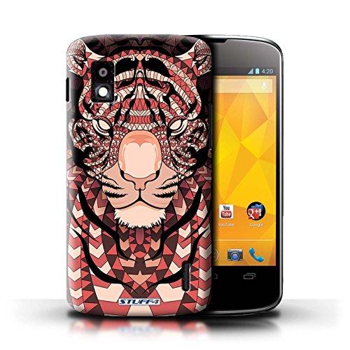 Kobalt® Imprimé Etui / Coque pour LG Nexus 4/E960 / Loup-Cramoisi conception / Série Motif Animaux Aztec Tigre-Rouge
