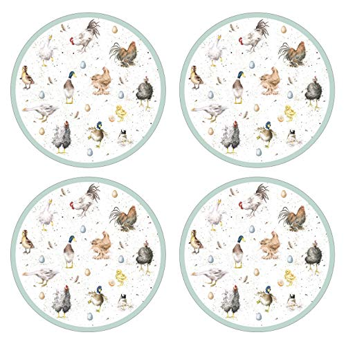 Wrendale Designs Farmyard Plumes Set de Table Rond, en Bois, Multicolore, Petit, Set de 4