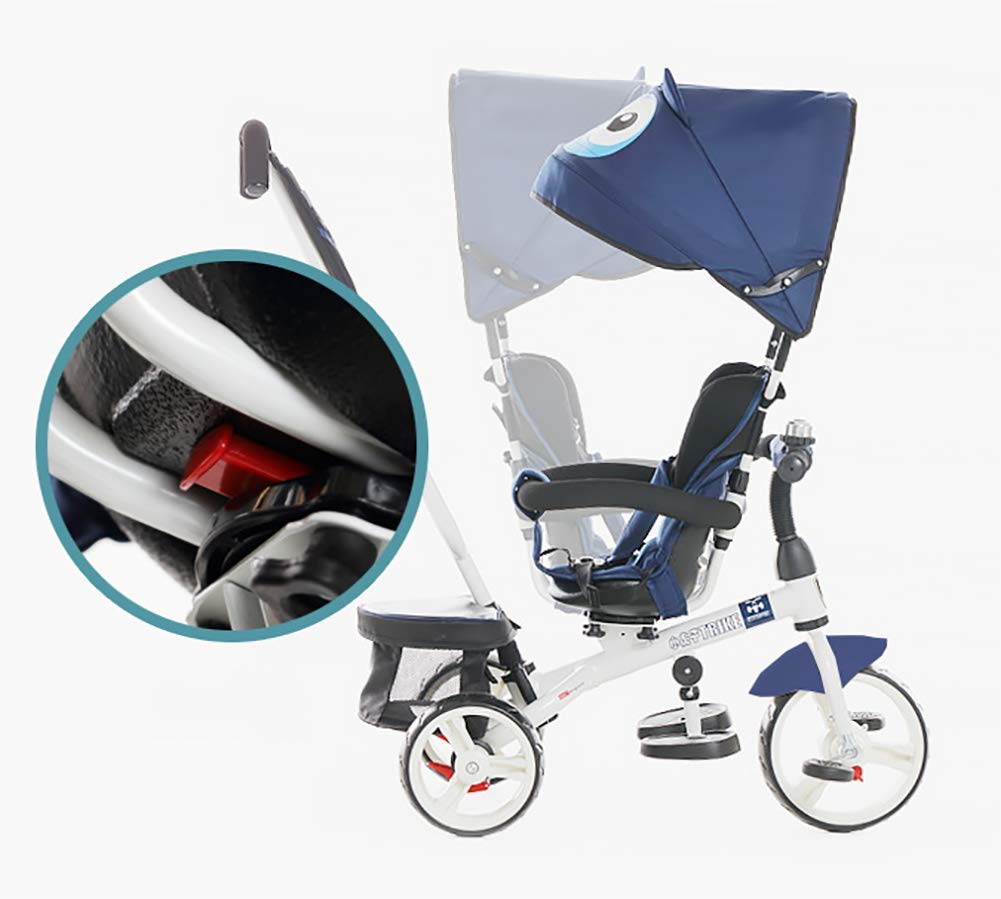 GHDE& 4 in 1 Toddler Trike Kids Tricycle with Sun Canopy, Back Storage and Removable Parent Handle Fit from 6 Months to 6 Years Max Load 30kg,Blue  4 IN 1 TRIKE: This is a growing with your child innovative kid trike, it follows with your baby's growing up and can be a baby bike, baby walker, or trike with parent pushing rod and canopy. Comfort for Kids: The large and retractable canopy provides ample shade, comfortable backrest and folding footrest to provide maximum comfort to your children. 5-point safety belts and safety fence ensure more safety for your baby. This tricycle is the best choice as an outdoor companion for children from 12 months to 5 years. CE & USA ASTMF certification, Maximum load bearing: 30 kg, Recommended height: 85-120 cm. 6