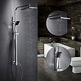 OBEEONR Duschsystem 8 Inch Kopfbrause Regendusche Set Höhe Verstellbar Wasserfall mit Handbrause Duschsäule aus Kupfer für Badezimmer