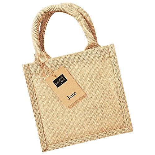 Westford Mill Jute Petite Geschenk Bag, laminiert Griff Länge 30cm (Polka Stoff Dot Handtaschen)