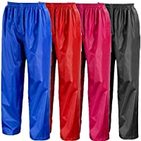 Rainsuit Shop Kids Waterproof Over Trousers in Black, Pink, Red or Royal Blue Childs Childrens Boys Girls