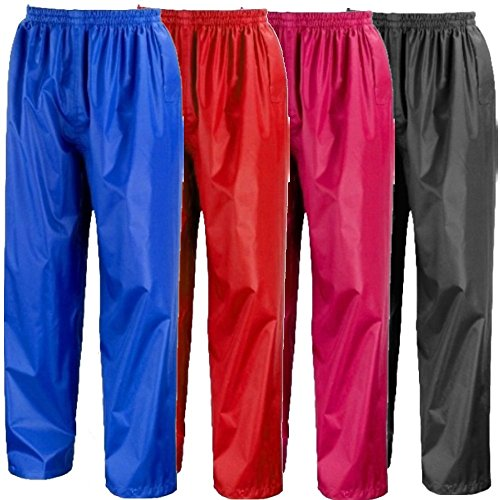 Kids-Waterproof-Over-Trousers-In-Black-Pink-Red-or-Royal-Blue-Childs-Childrens-Boys-Girls
