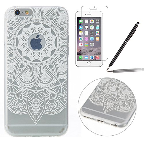 iPhone 6S Coque,iPhone 6 Case,iPhone 6S Cover - Felfy Transparent Ultra Light Slim Gel Souple Soft Flexible TPU Silicone Cas Color Motif Protector Housse Anti Scratch Couverture Coloré Motif de Protec Tournesol Blanc