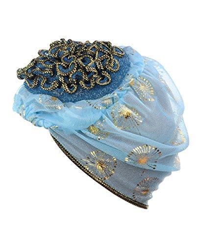 Turban extensible pour femme à accent floral. Produit offert par NYFASHION101. 078 Bleu pâle
