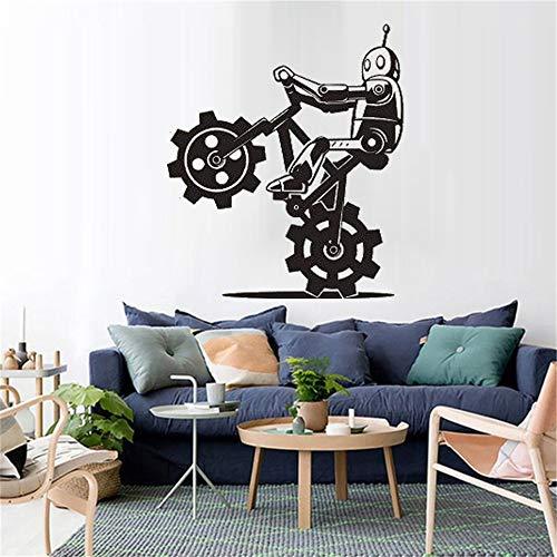 schlafzimmer Karikatur-Roboter auf Fahrradtricks Cyborg-moderne Mode-Verzierungs-Abziehbild-Dekor ()