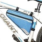 JHLD Bici Borse Borsa Telaio Triangolo, Ciclismo Sacchetto Sacchetto del Tubo Zip Striscia riflettente-blu-29 * 20 * 5cm