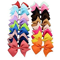 4Inch Baby Hair Bow Hairpins Boutique Girl Alligator Clips Grosgrain Ribbon-Headband