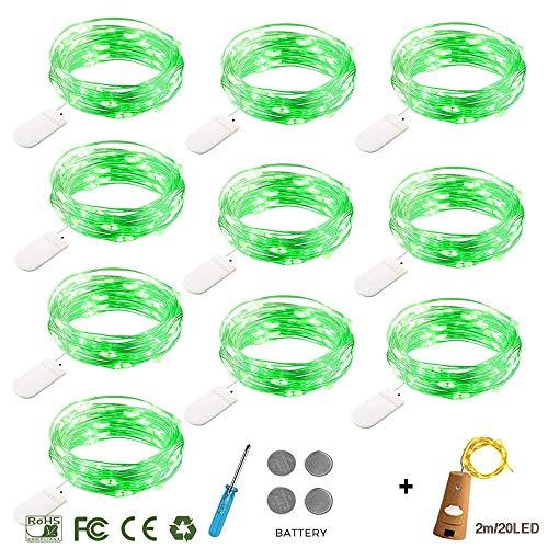 LED Lichterkette mit Batterie ,Morbuy Innen Dekoration Kupferdraht LED Außen Wasserdicht Micro Licht für Innenbeleuchtung Hochzeit Weihnachten und Haus Deko (grünes Licht, 2m/ 20 LEDs)