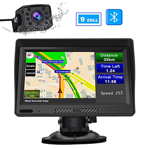 AWESAFE LKW Navi 9 Zoll Navigation mit Bluetooth und Rückfahrkamera, lebenslang Kartenupdate