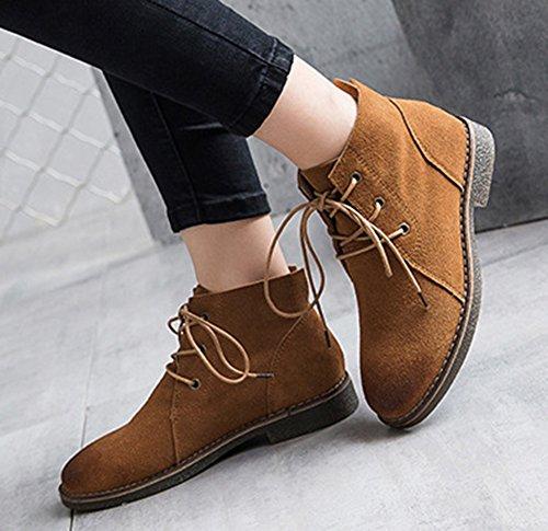 Aisun Femme Mode Cheville à Lacets Désert Boots Brun