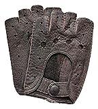 Weikert-Handschuhe exklusive fingerlose Auto Handschuhe aus echtem Peccary Leder, handgenäht, Herren, Germany (9,5, schwarz)