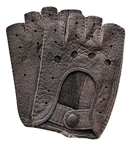 Exklusive fingerlose Auto-Handschuhe aus 100{1157cc812dd99858792c45194bd5247d0e6d49f414676d597aab00060371b7a9} echtem Peccary Leder, handgenäht, Herren, Damen (8, Dunkel-Braun)