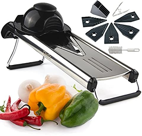 Chef's INSPIRATIONS Premium V Blade Stainless Steel Mandoline Food Slicer, Cutter & Julienne Slicer. Best For Slicing Fruit & Vegetables. Heavy Duty & Professional. Includes 5 Different Inserts, Cleaning Brush & Exclusive Blade Safety