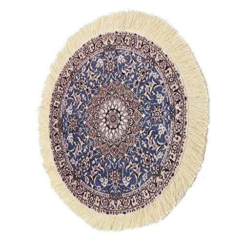 Ochoos Kiwarm Modernes Mauspad aus Baumwolle, Gummi, rund, Perserteppich, modisches Mauspad, Mauspad, Teppich, Büro, Basteln, für Zuhause, 23 cm -