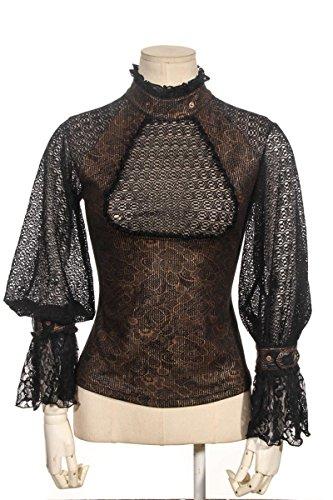Schwarz braune Bluse aus Spitze mit Jabot und Schnallen und gerüschten Ärmeln Rückenteil geschnürt Schwarz/Braun