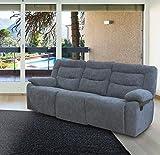 KECHAO CO., LIMITED Divano 3 POSTI MOD.EDDI con 2 Relax Manuale in Tessuto Grey K01-156