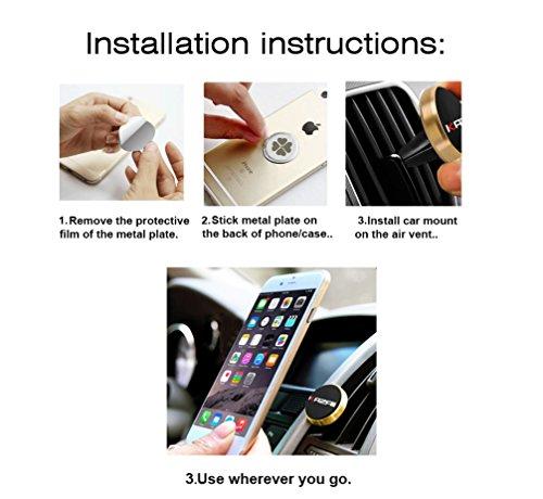 Supporto Magnetico per Cellulare per Auto Premium a Grip Magico per Ventola per lAria, Supporto Universale per tutti gli smartphone, cellulari, iPhone 6 / 6 Plus, iPhone 7 / 7 Plus, Sam